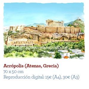 ilustrador acuarela Acropolis