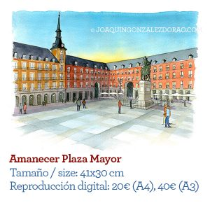 Acuarela Plaza Mayor Madrid amanecer