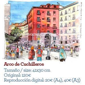 Acuarela del arco de Cuchilleros de Madrid