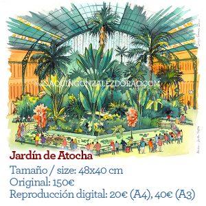 Atocha Jardín acuarela Madrid