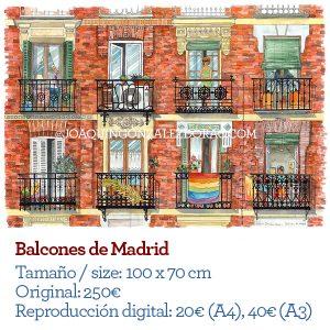 Acuarela de balcones de Madrid