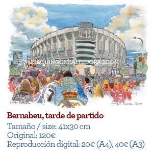 Acuarela Estadio Bernabeu Madrid