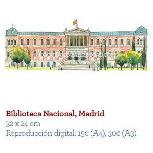 Acuarela Biblioteca Nacional Madrid