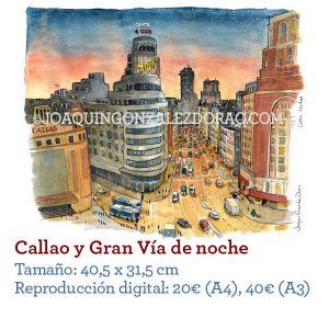 Acuarela de Callao de noche Madrid