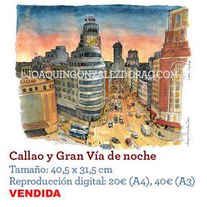 Acuarela Callao Madrid
