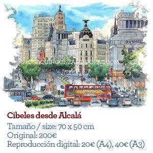 Acuarela de la plaza de Cibeles desde Alcalá