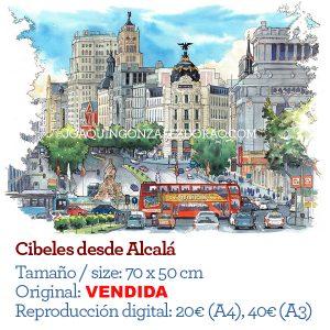 Cibeles acuarela Madrid