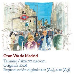Acuarela Gran Vía de Madrid