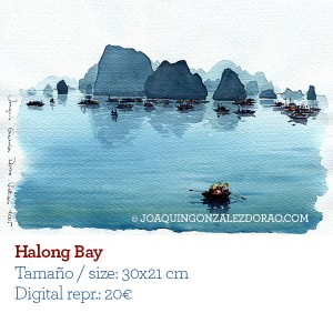 Ilustrador acuarela Halong Bay Vietnam