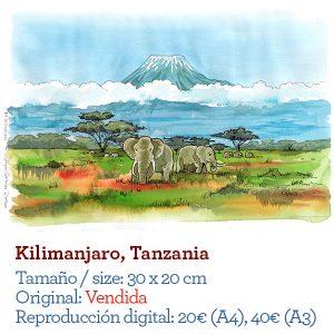 Kilimanjaro Africa acuarela watercolor