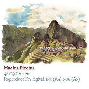 Ilustrador acuarela Machu Picchu