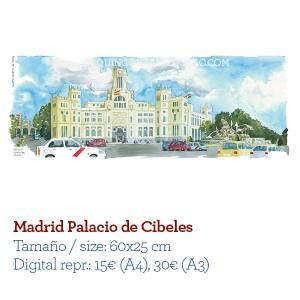 Acuarela Madrid Palacio Cibeles