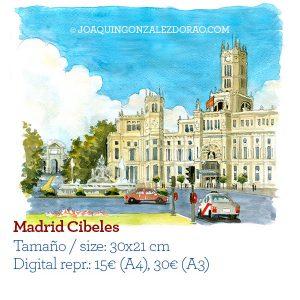 Acuarela Palacio Cibeles Madrid