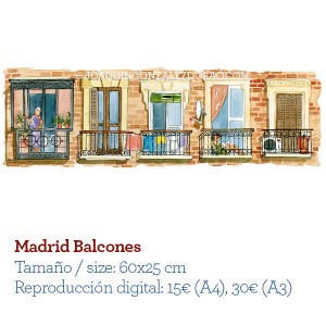 Acuarela Madrid Balcones