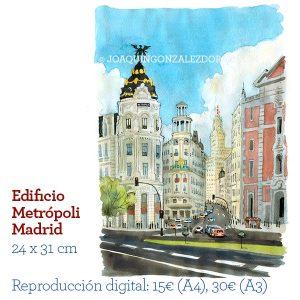 Edificio Metropoli Madrid acuarela