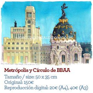 Edificio Metropolis Madrid acuarela