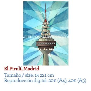 Acuarela Piruli TV tower Madrid