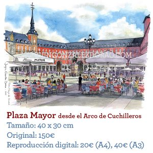 Acuarela Plaza Mayor Madrid