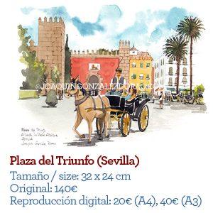 Ilustrador acuarela Plaza del Triunfo Sevilla