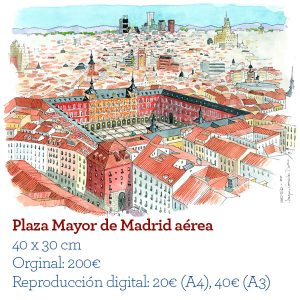 Plaza mayor madrid acuarela aerea