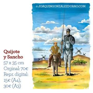 Ilustrador acuarela QuijoteySancho