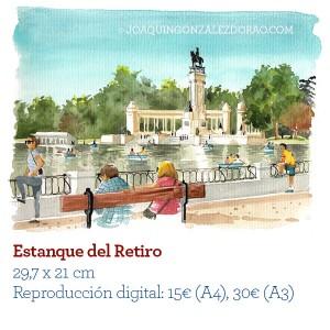 Acuarela RetiroEstanque