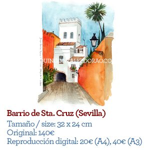 Ilustrador acuarela Barrio de Santa Cruz Sevilla