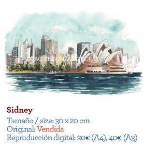 Sydney acuarela watercolo