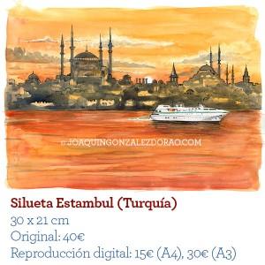 Ilustrador acuarela SiluetaEstambul