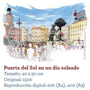 Acuarelas de Madrid Puerta del Sol