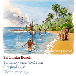 Ilustrador acuarela Sri Lanka Beach