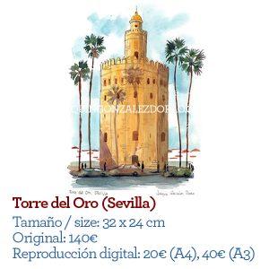 ilustrador acuarela Torre del Oro de Sevilla