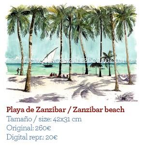 Ilustrador acuarela Zanzibar beach
