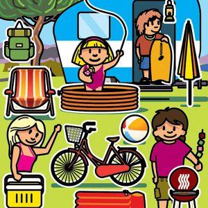 Familia camping ilustración editorial