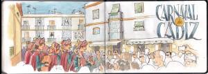 Acuarela Chirigotas en el Mercado de Abastos de Cádiz
