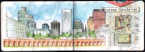 Ilustracion Shyline de la zona de Azca y Nuevos Ministerios