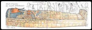 Acuarela Sarcofago Egipcio