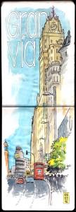 Ilustrador acuarela Madrid Gran Via