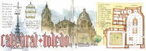Ilustrador acuarela catedral toledo
