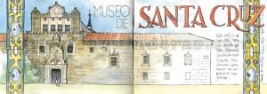 Ilustrador acuarela museo santa cruz