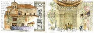 Ilustrador acuarela sinagoga