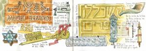 ilustrador acuarela museo sefardi