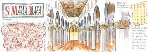 ilustrador acuarela sinagoga maria la blanca