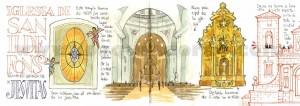 Ilustrador acuarela iglesia san ildefonso