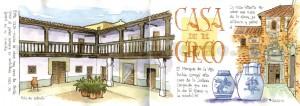 Ilustrador acuarela casa greco