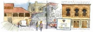 ilustrador acuarela calle de las tornerias