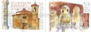 ilustrador acuarela iglesia del salvador