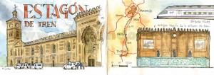 Ilustrador acuarela Toledo estacion tren