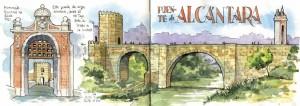 Ilustrador acuarela puente de alcantara