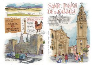 Camino de Santiago acuarela